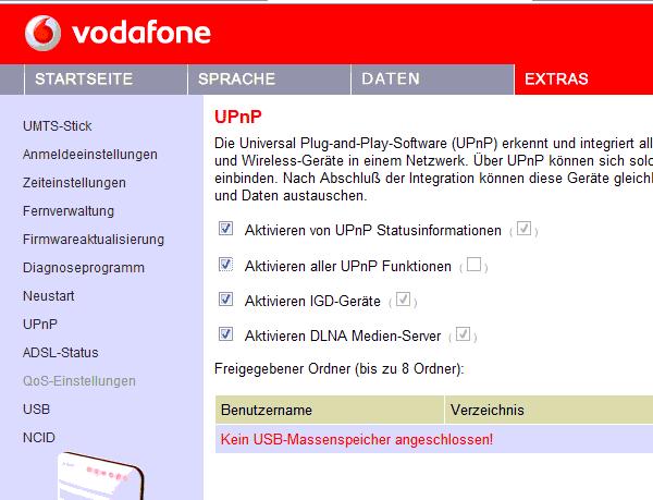 Vodafone Easybox - UPnP aktivieren