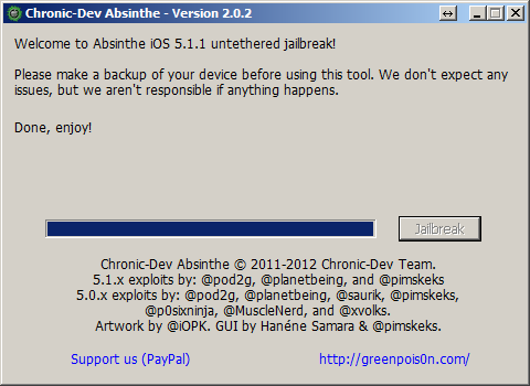 Absinthe iOS Jailbreak Done