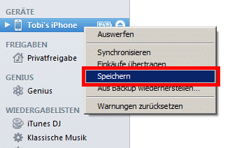 iTunes - iPhone Backup