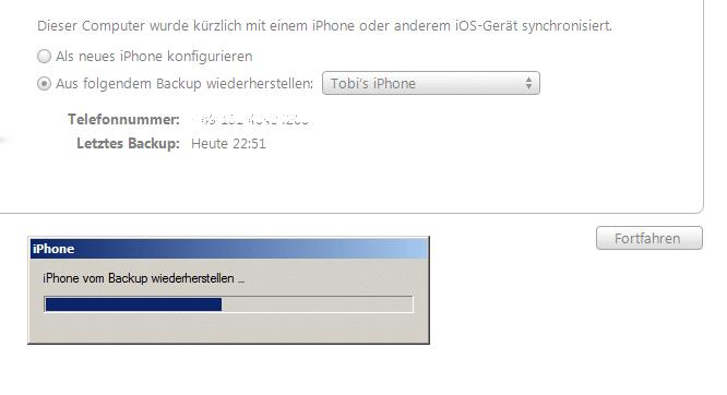 iTunes Restore Backup