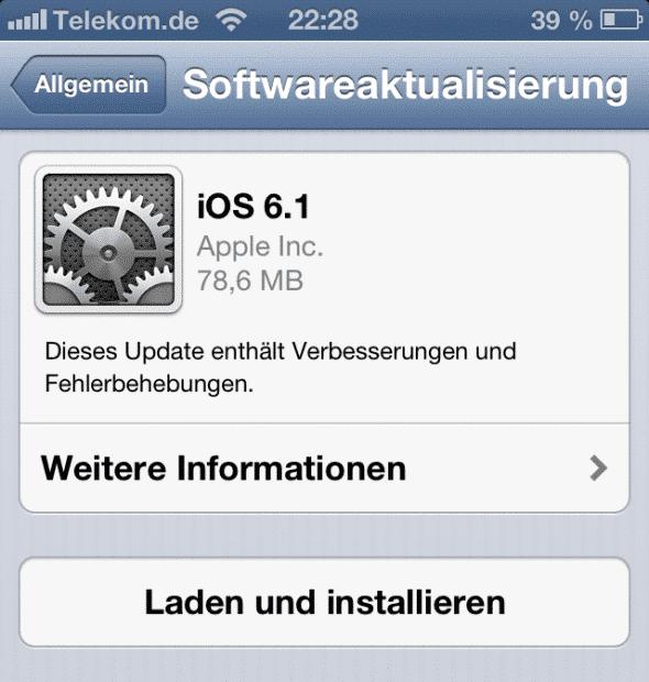 Apple iOS 6.1 Update