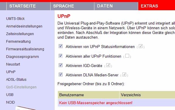 Easybox 803 UPnP