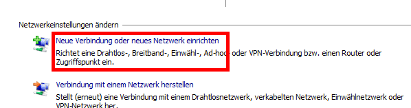 Windows 7 - Neue Verbindung einrichten