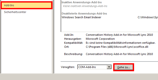 Outlook 2010 - Add-Ins