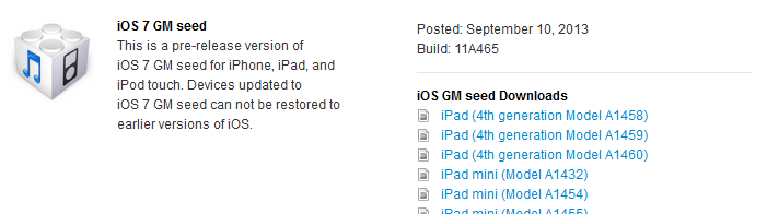 iOS 7 - Golden Master