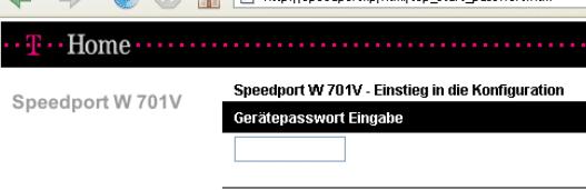 speedport w701v Login