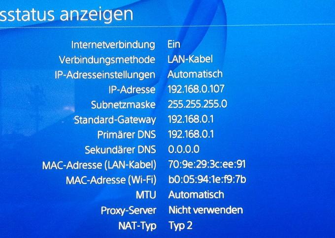 PS4 Verbindungsstatus